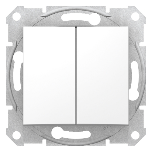 Sedna fehér kettős váltókapcsoló (106+6)
