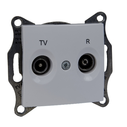 Sedna fehér TV/R aljzat, átmenő, 4 dB